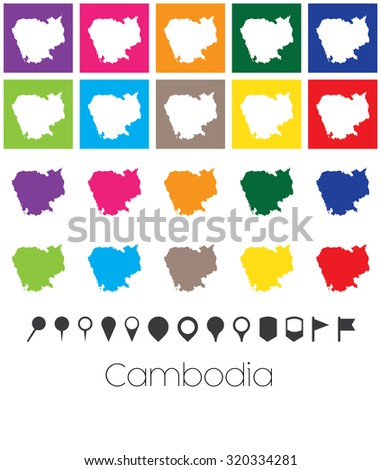 Illustration of Multiple Colours with Pointers of the map of Cambodia