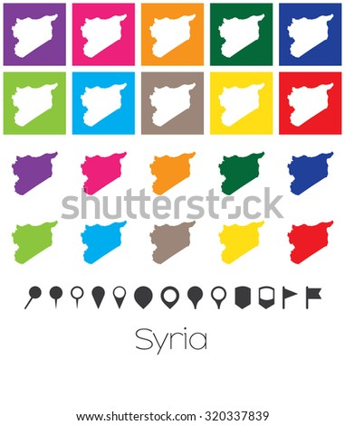 Illustration of Multiple Colours with Pointers of the map of Syria