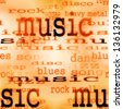 illustration of music word background, texture - stock vector