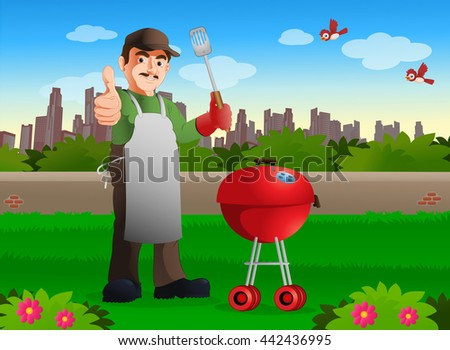 illustration of mustache chef showing his skill  with his barbecue food recipe on garden - stock photo