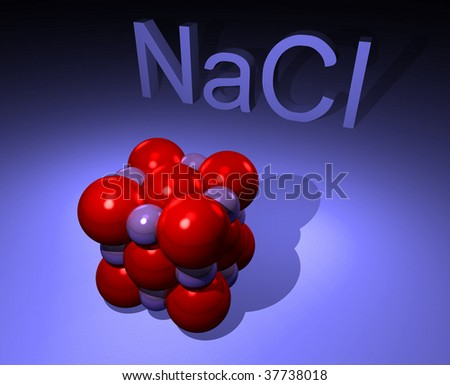 Illustration of NaCl molecule i.e. salt - stock photo