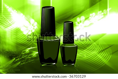Illustration of Nail polish with black cap