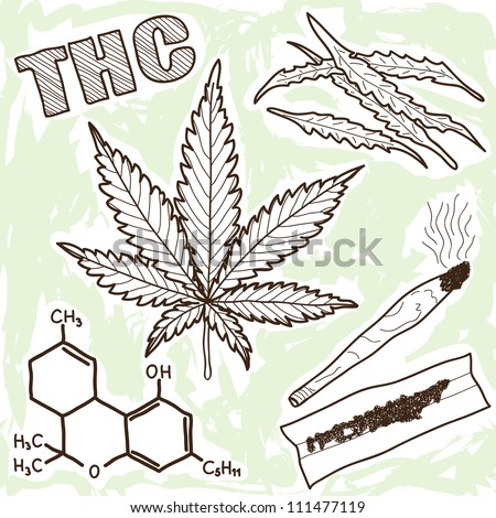 Illustration of narcotics - marijuana and other elements - stock photo