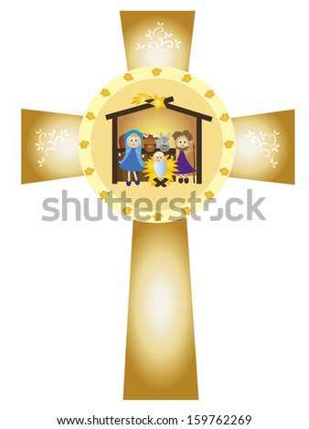 illustration of nativity in the cross - stock photo