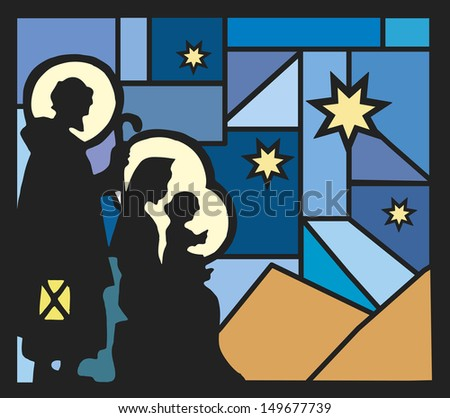 illustration of nativity with a mosaic background - stock photo