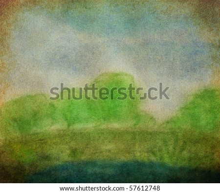 illustration of nature landscape - stock photo
