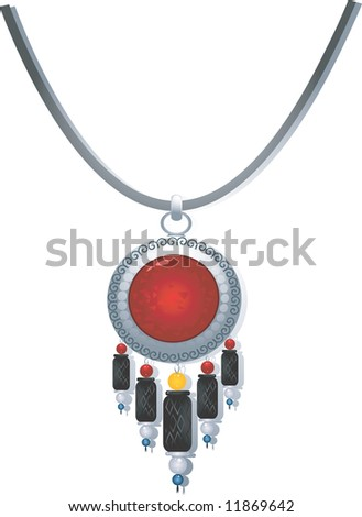 Illustration of necklace with gemstone