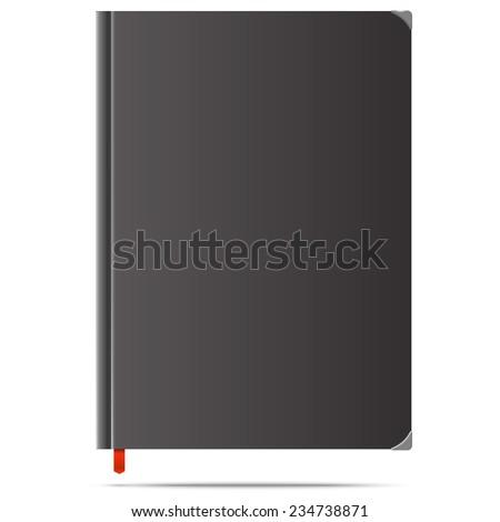 illustration of new black diary - stock photo