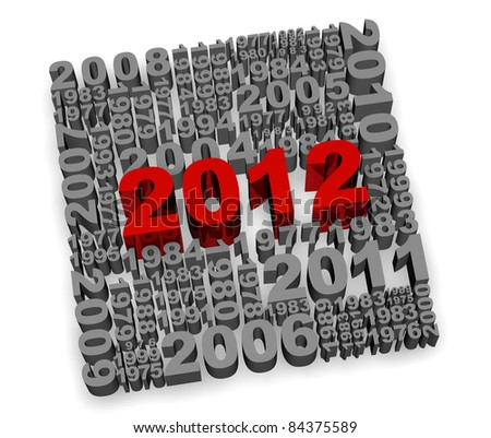 Illustration of 2012 new year render in 3D - stock photo