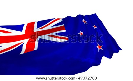 Illustration of New Zealand flag with sky, waving in the wind
