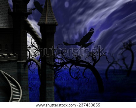 Illustration of night forest with full moon. Also a castle with ravens in the air - stock photo