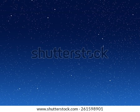 Illustration of night sky with simulated stars on blue background