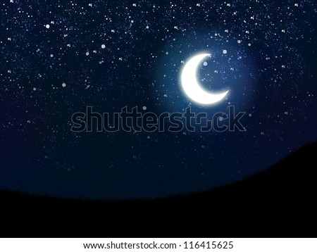 Illustration of night sky with stars and crescent moon. - stock photo