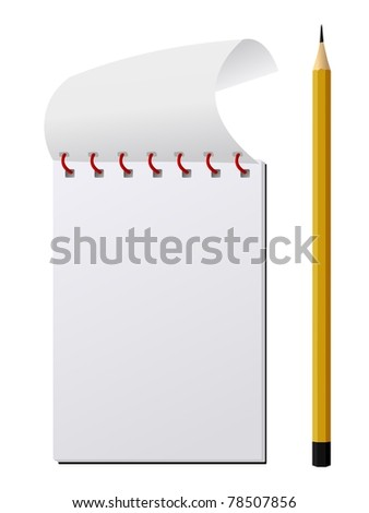 Illustration of Notebook with pencil