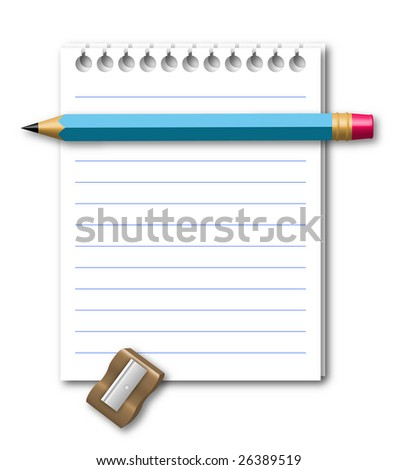 Illustration of notebook with pencil and pencil sharpener