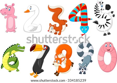 Illustration of number with a concept africa animals - stock photo
