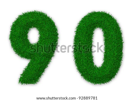 Illustration of numbers 9 and 0 made of grass