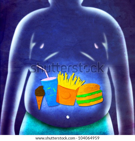 Illustration of Obese Man  and Fast Food Menu on Blue Textured Background - stock photo