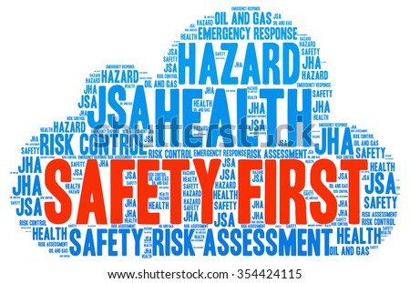 Illustration of Occupational Safety and Health concept in modern art word cloud tag