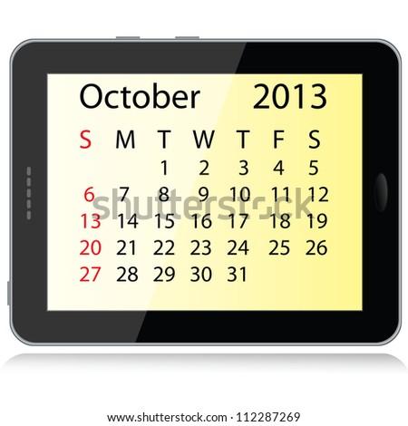 illustration of october 2013 calendar framed in a tablet pc. - stock photo