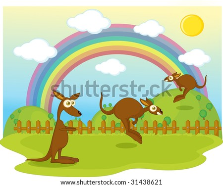 illustration of of duck on background of rainbow