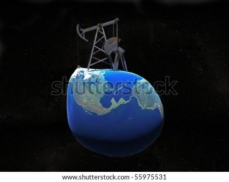 Illustration of oil derrick on the earth - stock photo