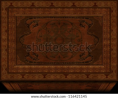 illustration of old antique chest - stock photo