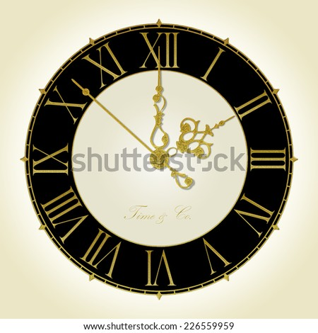 Illustration of old antique wall clock - stock photo