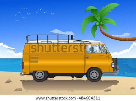 illustration of old car cartoon on beach