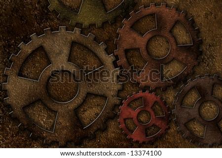 illustration of old rusty machine background - stock photo