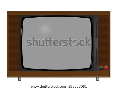 Illustration of old TV on the white background. Raster illustration.