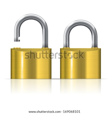 illustration of open and closed padlocks set - stock photo