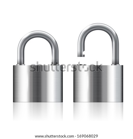 illustration of open and closed silver padlocks set - stock photo