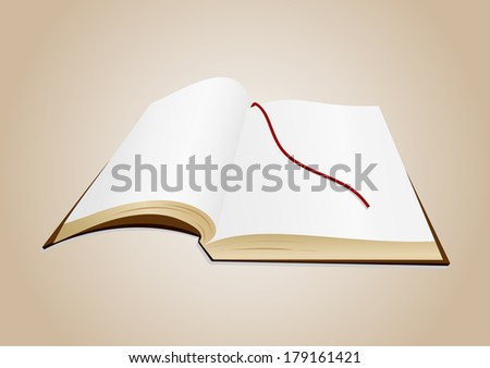 Illustration of open book with blank pages and background