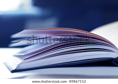 illustration of open book with selective focus - stock photo