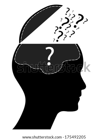 Illustration of open human head with many question marks, raster version.  - stock photo