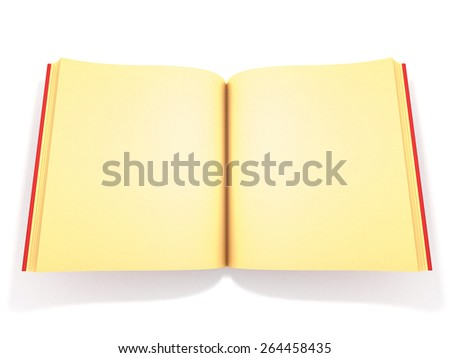Illustration of opened book with gold pages against white background. - stock photo