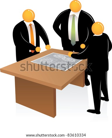 Illustration of Orange Head Man talking about project - stock photo