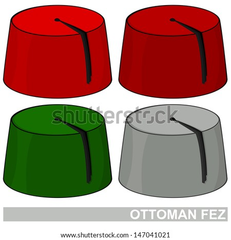 Illustration of Ottoman Fez in four different colors - stock photo