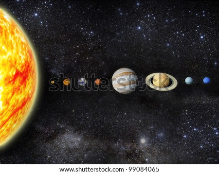 Illustration of our solar system. - 3D REnder  Maps from http://planetpixelemporium.com/ - stock photo