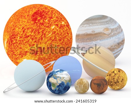 Illustration of our solar system on White Plane - 3D Render  Maps from http://planetpixelemporium.com/ - stock photo