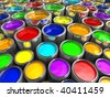 Illustration of paint cans with all colors - 3d render - stock photo
