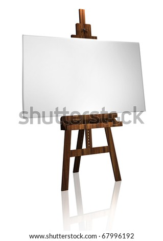 illustration of painter's easel and canvas in white - stock photo