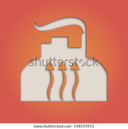 Illustration of paper cut out geothermal heat pump - stock photo