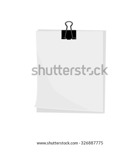 Illustration of paper, paper clip, paper pin, paper isolated