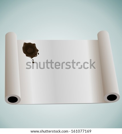 Illustration of paper roll with brown wax sealing - raster - stock photo
