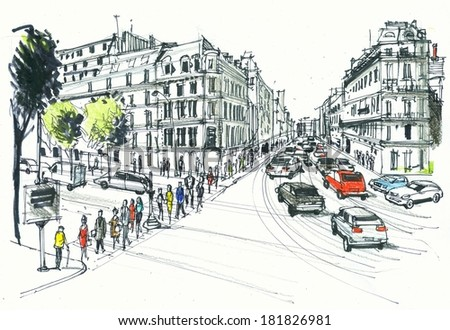 Illustration of Paris street scene with buildings and pedestrians.