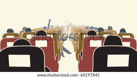 Illustration of passengers in an airplane - stock photo