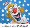 Illustration of patriotic Uncle Sam American circus clown wearing top hat with stars and stripe background. - stock vector