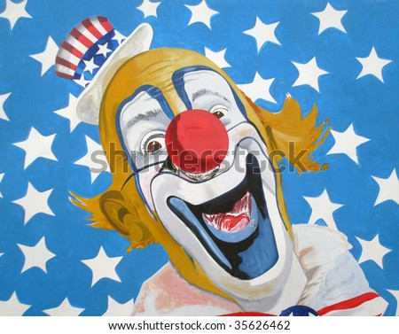 Illustration of patriotic Uncle Sam American circus clown wearing top hat with stars and stripe background.
